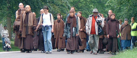 Thây leading Peace Walk in Edinburgh 2003