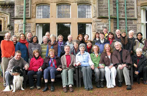 Martin and Murray with retreatants, mostly from Scottish Sanghas